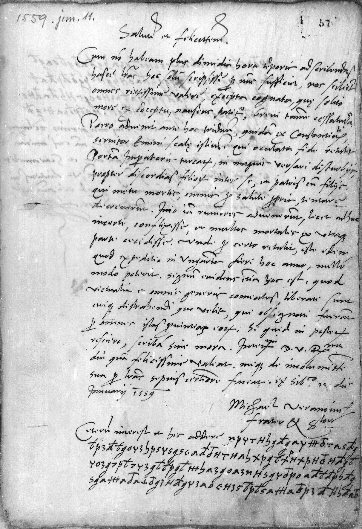 <strong>Appendix </strong>6 - Mihovil's letter from 11 January 1559 (Széchenyi? 57r)